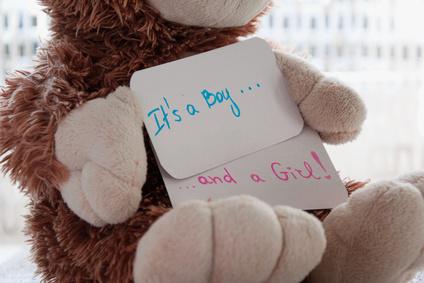 """Peluche avec étiquette """"it's boy and a girl"""""""